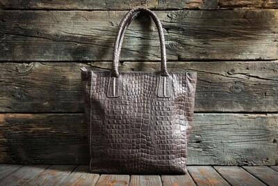 Коричневая сумка шоппер из натуральной кожи
