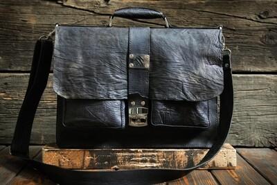 Коричневый портфель из сыромятной кожи