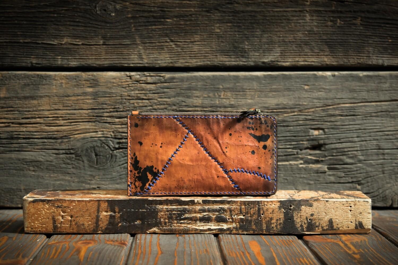 Кошелёк шафранового цвета из натуральной кожи