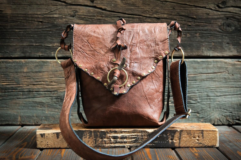 Коричневая женская сумочка из сыромятной кожи