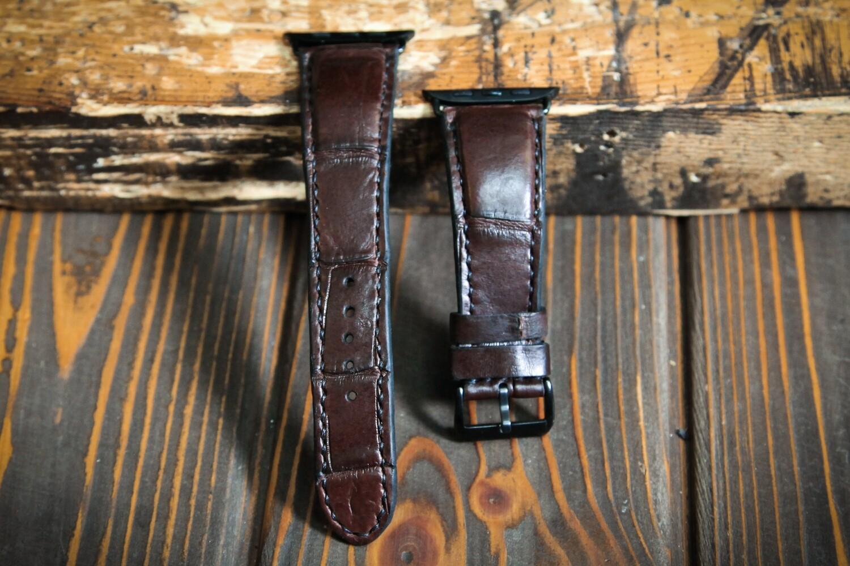 Коричневый кожаный ремешок для Apple Watch из кожи крокодила