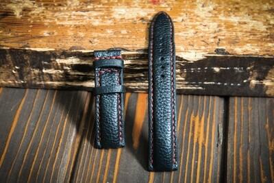 Чёрный кожаный ремешок для часов