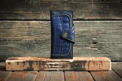 Синий кошелёк из натуральной кожи крокодила и питона