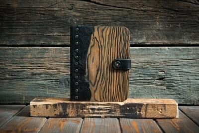 Чёрный блокнот из дерева и натуральной кожи