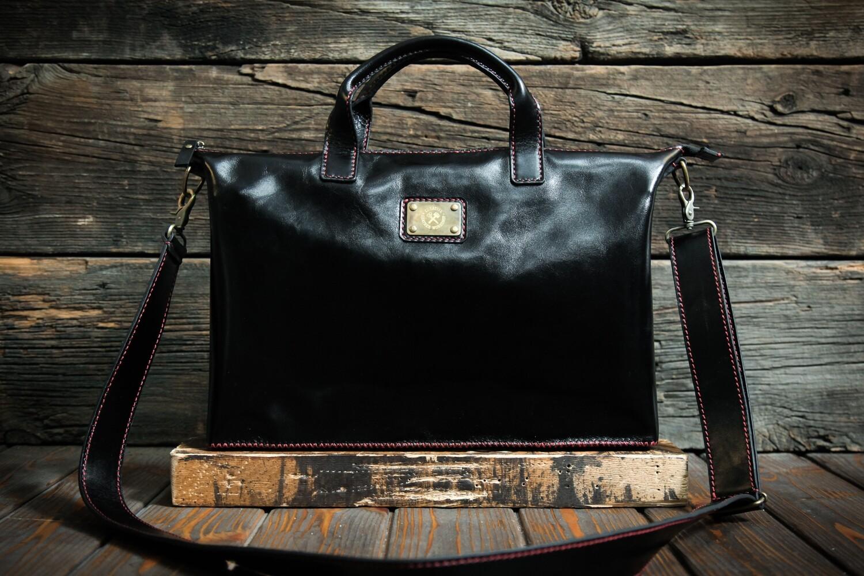 Чёрный портфель из натуральной кожи