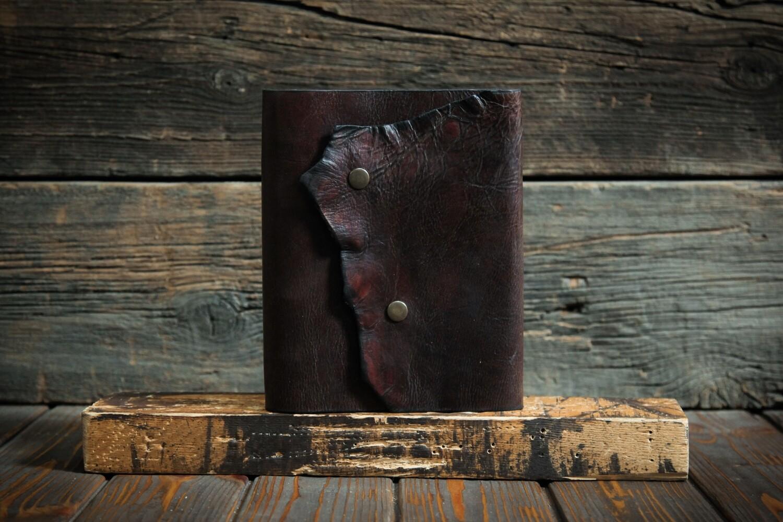 Блокнот А5 шоколадного цвета из сыромятной кожи