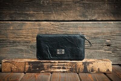 Чёрный кошелёк из состаренной кожи