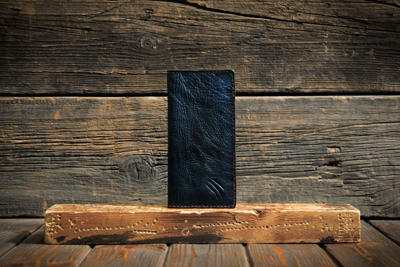 Тёмно-синий кошелёк из состаренной кожи