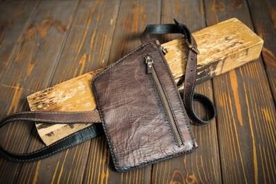 Коричневая сумочка через плечо из натуральной кожи