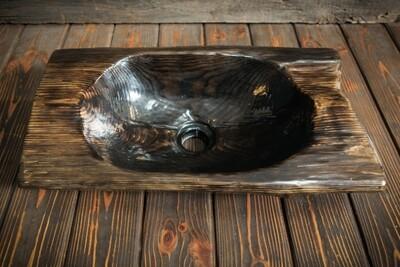 Раковина ручной работы из массива сосны