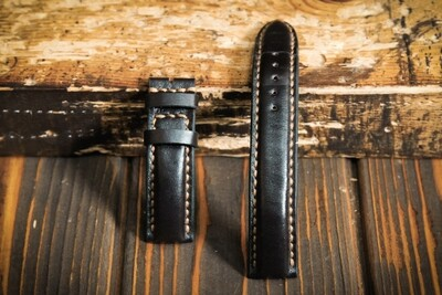 Тёмно-коричневый кожаный ремешок для часов 20 мм