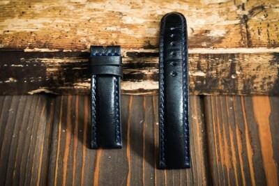 Тёмно-синий кожаный ремешок для часов 20 мм