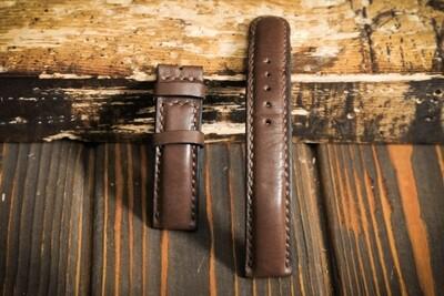 Коричневый кожаный ремешок для часов 20 мм