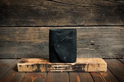 Блокнот А6 черного цвета из состаренной кожи