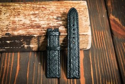 Размер L. Черный кожаный ремешок для часов из кожи питона