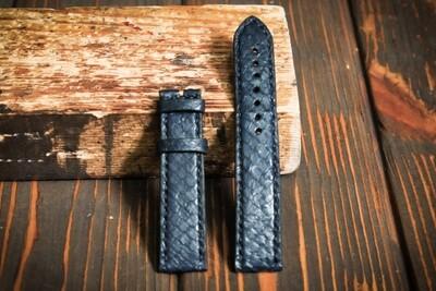 Размер M. Синий кожаный ремешок для часов из кожи питона