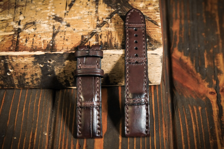 Размер L. Коричневый кожаный ремешок для часов из кожи крокодила