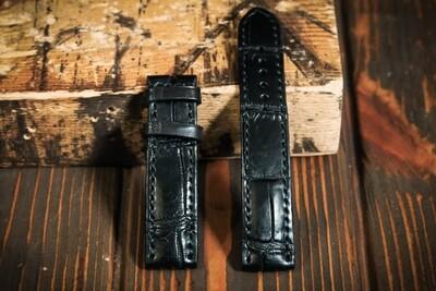 Размер L. Черный кожаный ремешок для часов из кожи крокодила