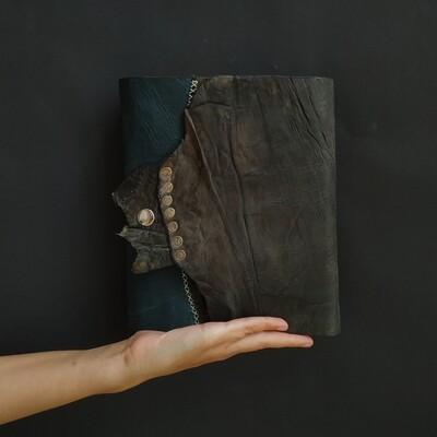 Блокнот А5 серо-синего цвета из состаренной кожи