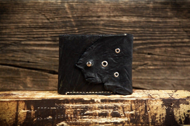 Кошелёк из сыромятной кожи чёрный