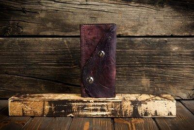 Женский фиолетовый кошелёк из сыромятной кожи
