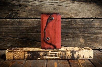 Женский красный кошелёк из сыромятной кожи