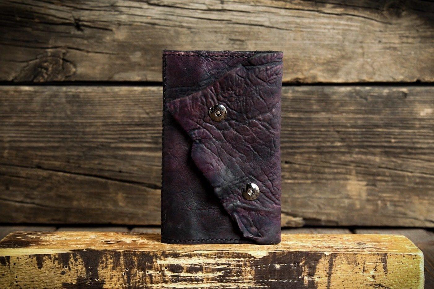 Фиолетовая визитница из сыромятной кожи