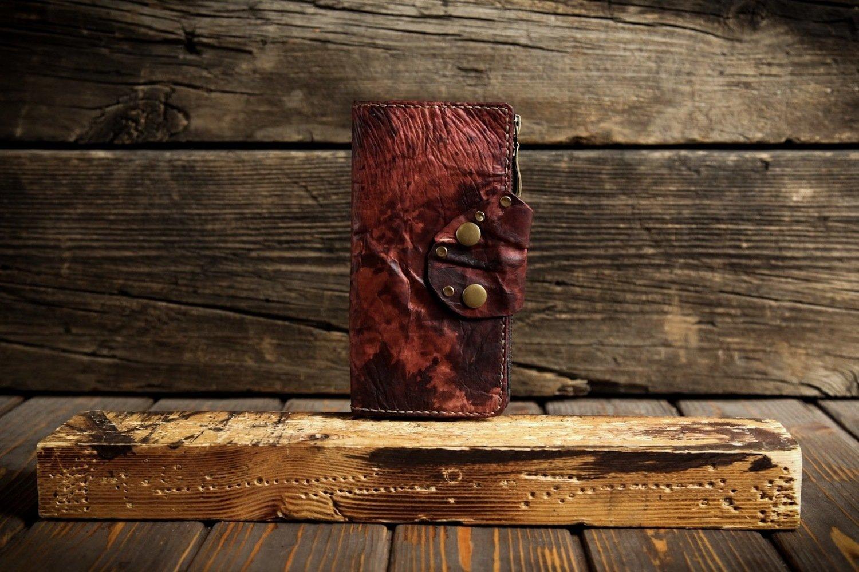 Красный кошелёк из сыромятной кожи