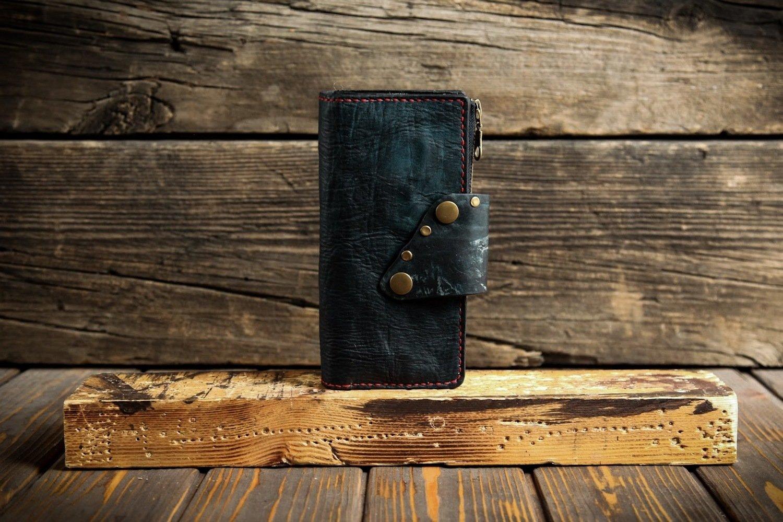 Синий кошелёк из сыромятной кожи