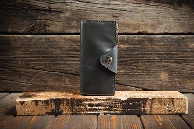 Серый кожаный кошелёк