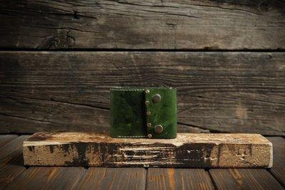 Женский зеленый кошелёк из сыромятной кожи