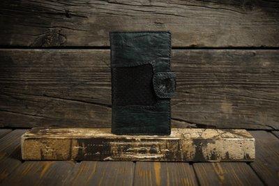 Зеленый кошелёк из сыромятной кожи с питоном