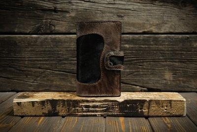 Коричневый кошелёк из сыромятной кожи с мехом пони