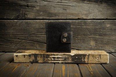 Чёрный кошелёк из сыромятной кожи