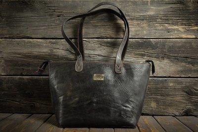 Чёрная сумка из сыромятной кожи