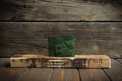 Зелёный кошелёк из сыромятной кожи