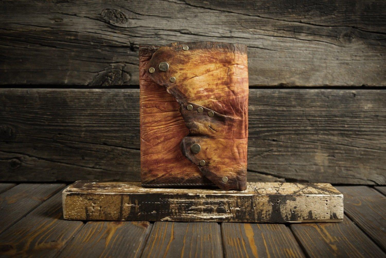 Оранжевый блокнот из сыромятной кожи