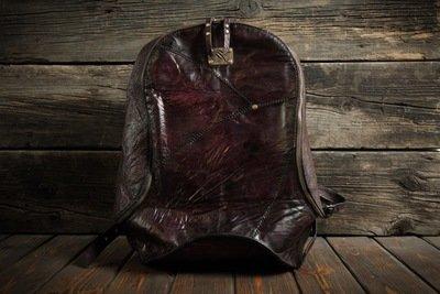 Бордовый рюкзак из сыромятной кожи