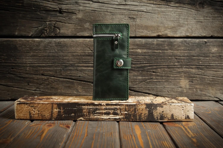 Зелёный кошелёк из натуральной кожи