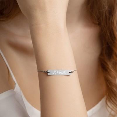 Jet Girl Engraved Silver Bar Chain Bracelet