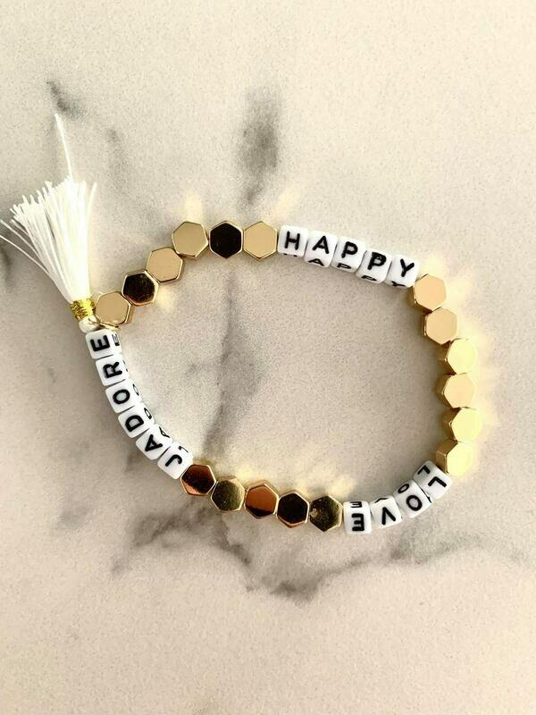Happy - Love - J'adore - Gold