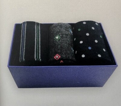 Herren Socken Ringel-Punkte, Dreierpack in Box