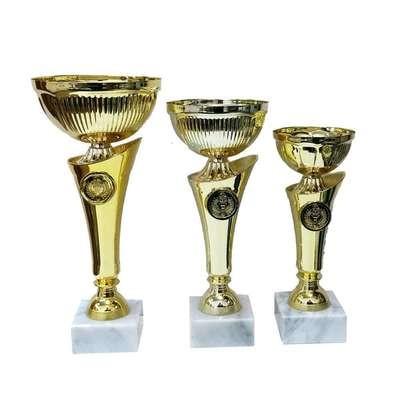 """גביע מתכת דגם 101-16001 צבע זהב גובה 21/24/27 ס""""מ"""
