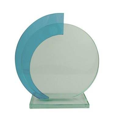 מגן הוקרה זכוכית עגול כחול עם לוחית הקדשה עגולה