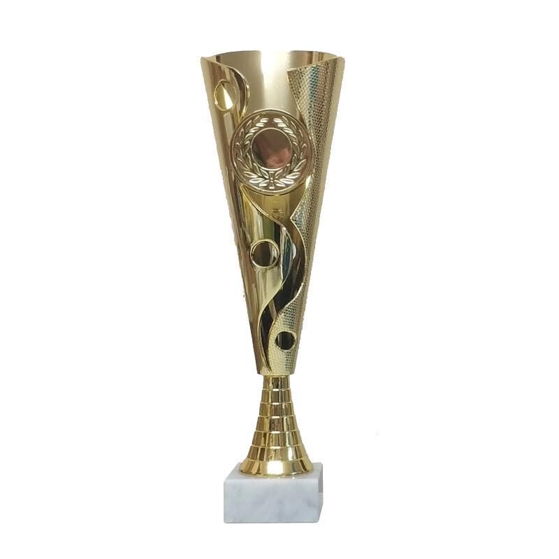 """פסלון מניפה פלסטיק ייחודי ג. 30 ס""""מ זהב כולל סמל ענף - 4 מידות"""