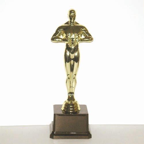 """פסלון דמוי אוסקר על בסיס מהודר ג. 26 ס""""מ זהב צבע זהב כולל הקדשה"""