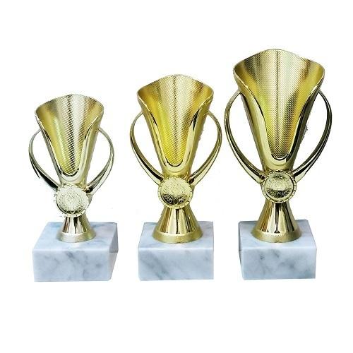 """דגם 2201 גביע פלסטיק צבע זהב על בסיס שיש גובה 15/17/19 ס""""מ כולל סמל והקדשה מחיר החל מ"""