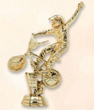 """פסלון אופניים שטח בי.אם.אקס צבע זהב גובה 16 ס""""מ כולל הקדשה"""