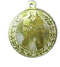 """מדליה מוטבעת קוטר 4.5 ס""""מ ממתכת לענף הג'ודו צבע זהב"""