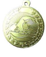 """מדליה מוטבעת קוטר 4.5 ס""""מ ממתכת לענף השחיה צבע זהב"""
